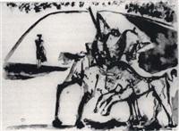 dans l'arène: picador et torero by pablo picasso