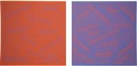 reversal pair blue plus orange (set of 2) by julian stanczak