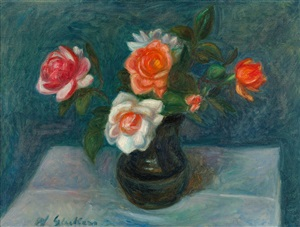 flowers on a table by william glackens