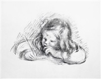 le petit garcon au porte-plume (little boy with quill pen) by pierre-auguste renoir