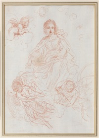 studies for the assumption of the virgin: the virgin with angels (recto) and an angel (verso) by guercino