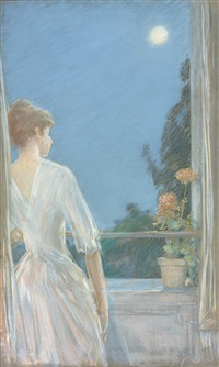 on the balcony by childe hassam