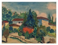 ohne titel, landschaft mit häusern / untitled, landscape with houses by hermann hesse