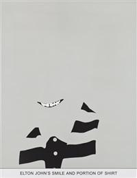 sediment: elton john's smile and portion of shirt by john baldessari