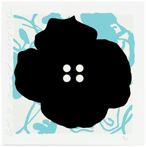 button flowers-aqua by donald sultan