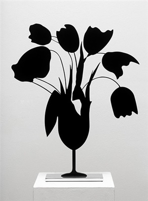 black tulips and vase, april 5th, 2014 by donald sultan