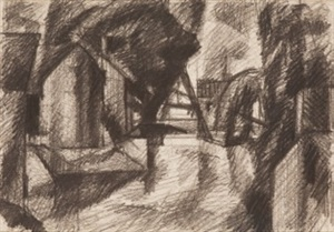 untitled drawing ('study for blue day') by oscar florianus bluemner