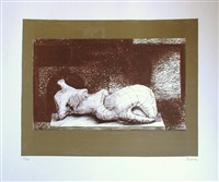 reclining figure with architectural background i by henry moore