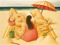family on a beach by fernando botero