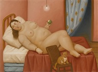 woman on bed by fernando botero
