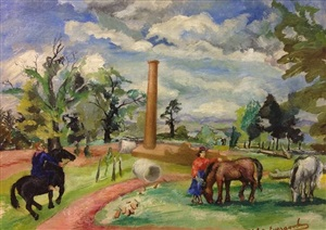landscape with horses by philip evergood