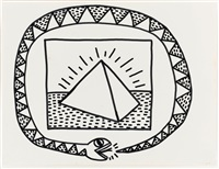untitled (snake and pyramid) by keith haring