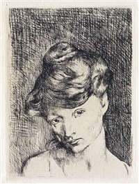 tête de femme: madeleine (from la suite de saltimbanques) by pablo picasso