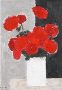 bouquet de roses rouges a la bande noire by bernard cathelin