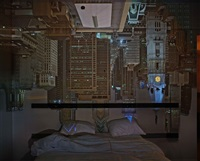 camera obscura: night view of philadelphia from loews hotel room #3013 by abelardo morell