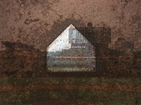 tent-camera image on ground: home plate, wrigley field, chicago, il by abelardo morell