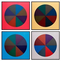 circles divided into eight equal parts with colors superimposed in each part by sol lewitt