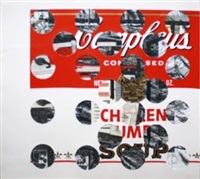 untitled (campbell's soup with cut-out circles) by ray johnson