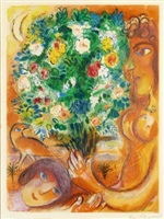 femme au bouquet (woman with bouquet) from nice and the côte d'azur by marc chagall