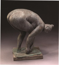 banista / mujer agachada (bather / crouching woman) (jrfa 9105) by francisco zúñiga