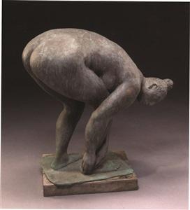banista / mujer agachada (bather / crouching woman) (jrfa 9105) by francisco zúñiga