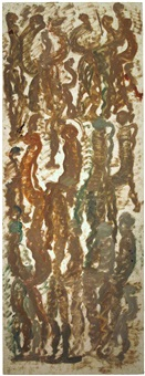 brown figures in abstract by purvis young
