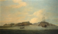 indiamen at anchor off saint helena by thomas luny
