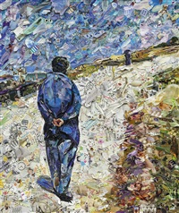 father magloire on the road between saint-clair and etretat, after gustave caillebotte (pictures of magazines 2) by vik muniz