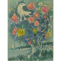 bay of angels with bouquet of roses (from nice and the cote d'azur) by marc chagall