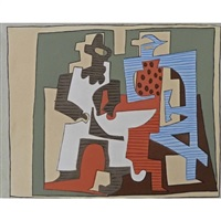 pierrot and harlequin seated, from dix pochoirs by pablo picasso