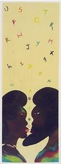 alphabet love watercolour on paper by chris ofili