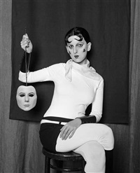 me as claude cahun holding a mask by gillian wearing