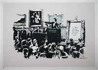 morons (black and white) by banksy