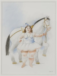 woman and horse by fernando botero