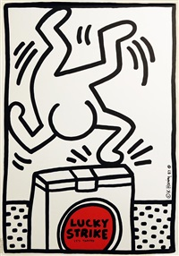 lucky strike poster iii by keith haring