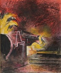 feeding a steel furnace, swansea by graham sutherland