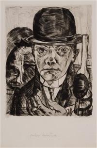 selbstbildnis mit steifem hut (self-portrait in bowler hat) by max beckmann