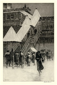 """snow on the """"el"""" by martin lewis"""