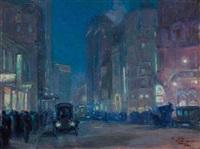 new york street scene by charles hoffbauer