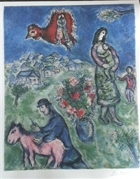 sur la route du village by marc chagall