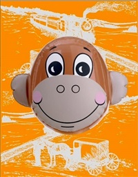 monkey train orange by jeff koons