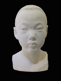 bust of a boy by li hongbo