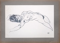 liegender weiblicher akt. (reclining female nude.) by egon schiele