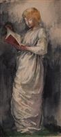 woman in white reading by john la farge