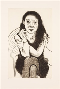 brenda with cigarette by david hockney