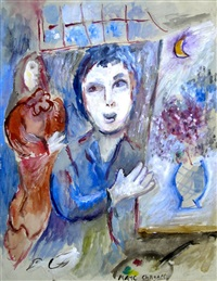 blumenbild im atelier by marc chagall