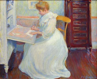 marthe at her desk by theodore earl butler