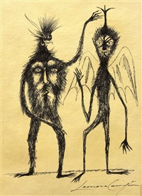 drawing of two surrealist figures by leonora carrington