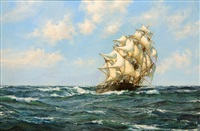 the clipper nicoya under full sail by montague dawson