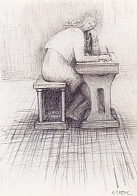 girl doing homework by henry moore